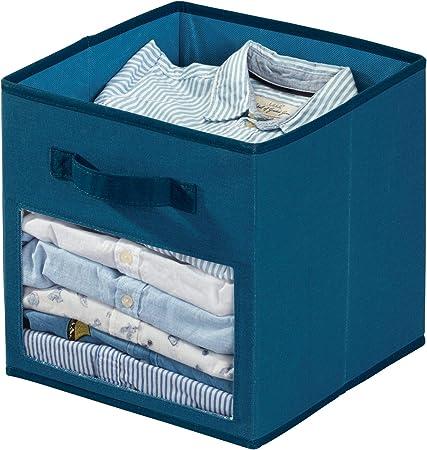 Organizador Plegable Con 2 Asas Y Ventana Azul 26,7 Cm X 28,0 Cm Dormitorio O Cuarto Infantil Caja Peque/ña En Mezcla De Algod/ón Y Poli/éster Para Armario Idesign Tela