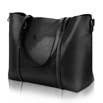 Amazon.com  Women Top Handle Satchel Handbags Shoulder Bag Tote Purse  Greased Leather Iukio (Black)  Shoes 4ae1a88ca8523