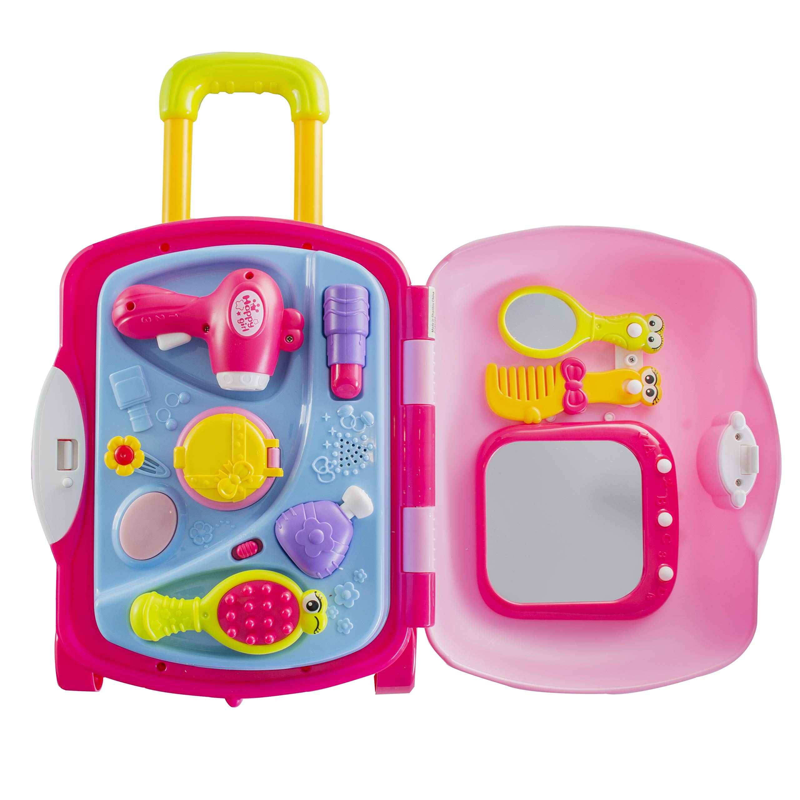 Pretend Play Girls Kids Beauty Salon Set with Realistic Mirror and Accesories Play Set with Fashion & Makeup Accessories for Girls by Prextex (Image #3)