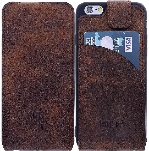Burkley Lederhülle geeignet für Apple iPhone 6 / 6S Hülle Handyhülle - Schutzhülle Flip Cover Case für das iPhone 6 / 6S mit