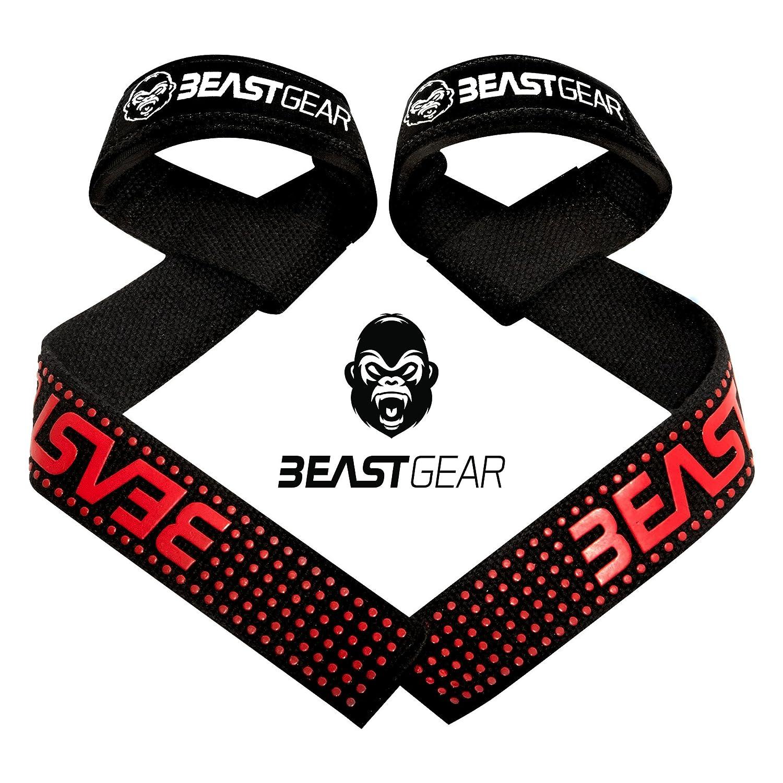 Beast Gear Profi Zughilfen für Fitness & Bodybuilding – Professionelle, Gepolsterte Lifting Straps mit Griffhilfe