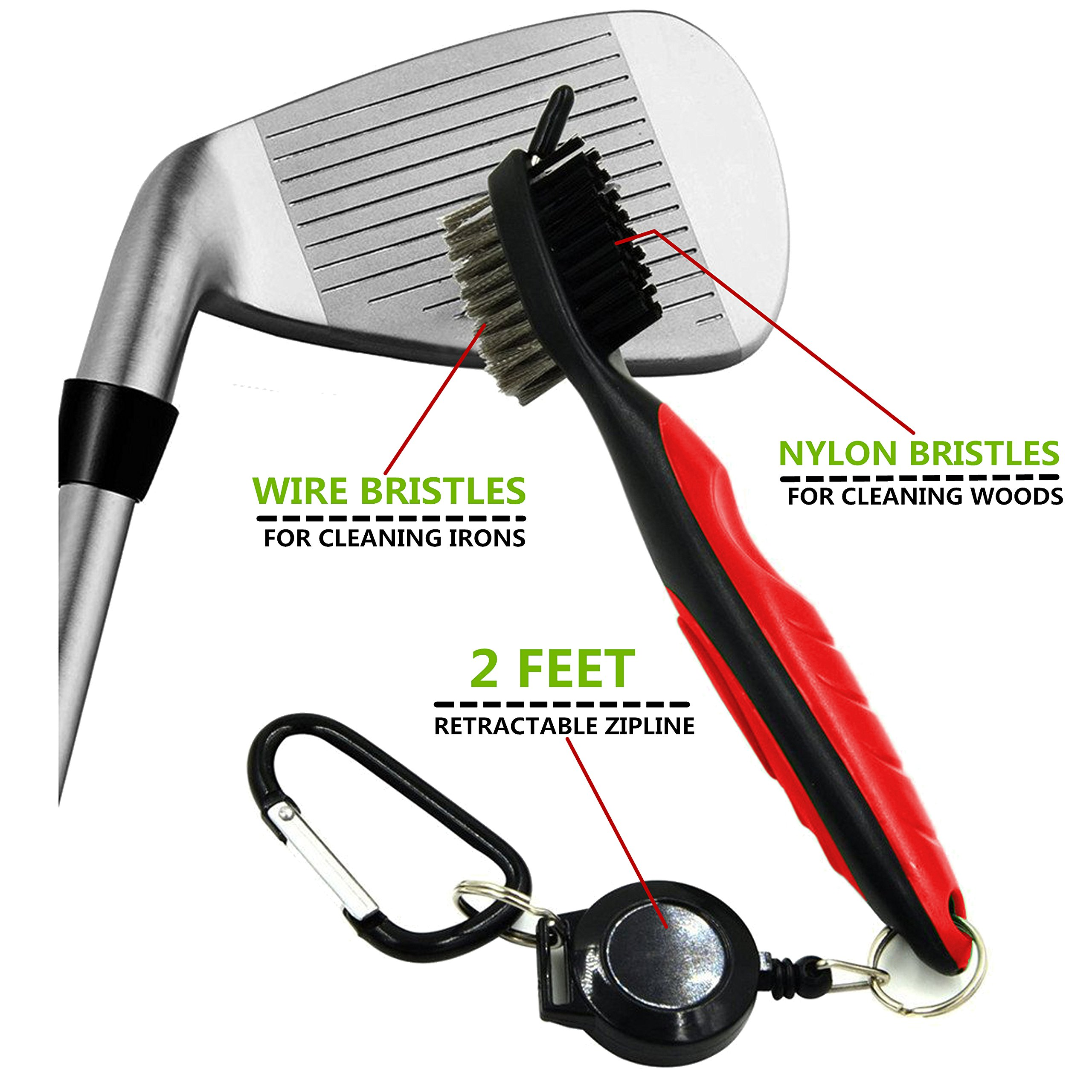 Yoport Golf Club Brush and Club Groove Cleaner 2 Ft Retractable Zip-line Aluminum Carabiner, Lightweight and Stylish, Ergonomic Design, Easily Attaches to Golf Bag (red, Blue, Green) by Yoport (Image #2)