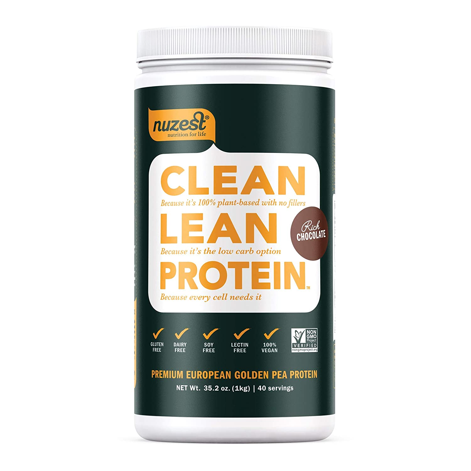 Nuzest Clean Lean Protein – Premium Vegan Protein Powder, Plant Protein Powder, European Golden Pea Protein, Dairy Free, Gluten Free, GMO Free, Naturally Sweetened, Rich Chocolate, 40 Servings, 2.2 lb