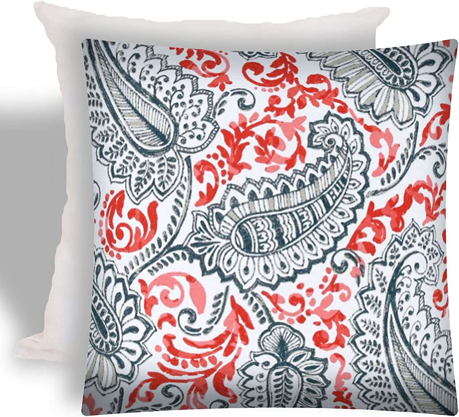 Joita Palmetto Square Polyester Outdoor Zippered Pillow Cover with Insert in Red