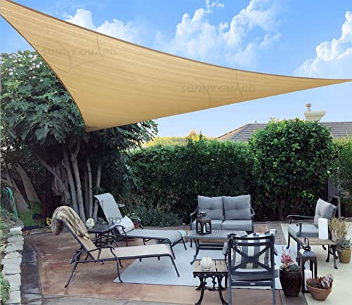 SUNNY GUARD 20' x 20' x 20' Sand Triangle Sun Shade Sail UV Block