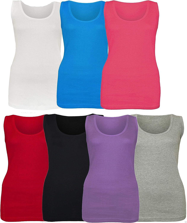 Denim Desire Womens Ladies Plus Size Stretchy Ribbed Vest Top Summer T Shirt Top UK Size 14-28