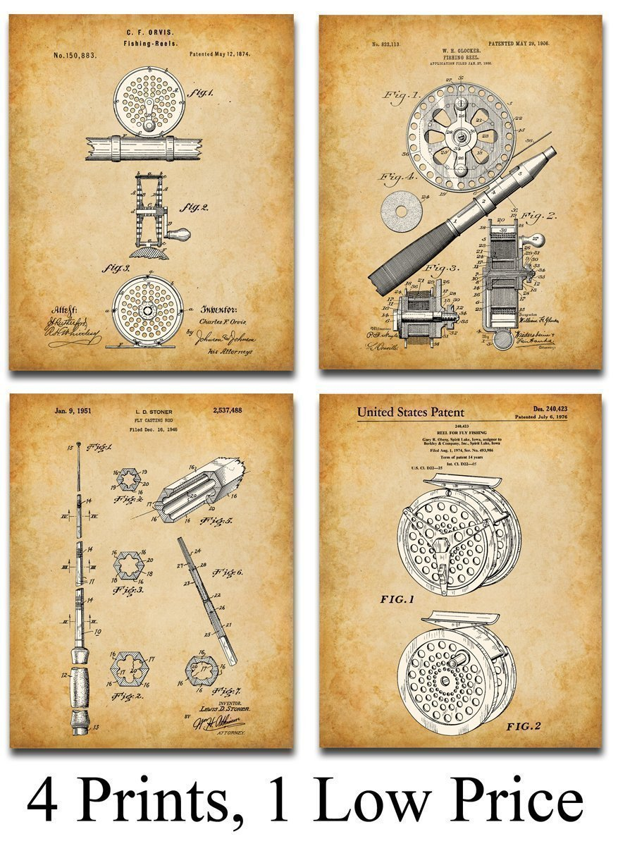 Amazon.com: Original Fly Fishing Rods and Reels Patent Art Prints ...