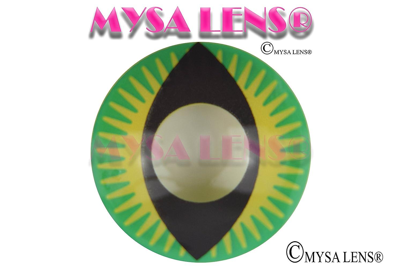 MYSA LENS Mini Sclera 17MM Lentilles De Contact De Couleur Green Devil  Dragon Dragon Vert Halloween 12 Mois + Avizor Solution Pour Lentilles 10ML  + Etui ... f5159c16076d