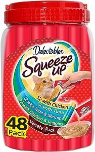 Hartz Delectables Squeeze Up Interactive Lickable Wet Cat Treats for Adult & Senior Cats, Variety Tub, 48 Count