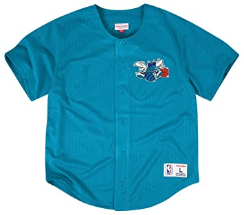Mitchell & Ness Charlotte Hornets NBA Men s Malla Button Down Jersey Camiseta Camiseta,