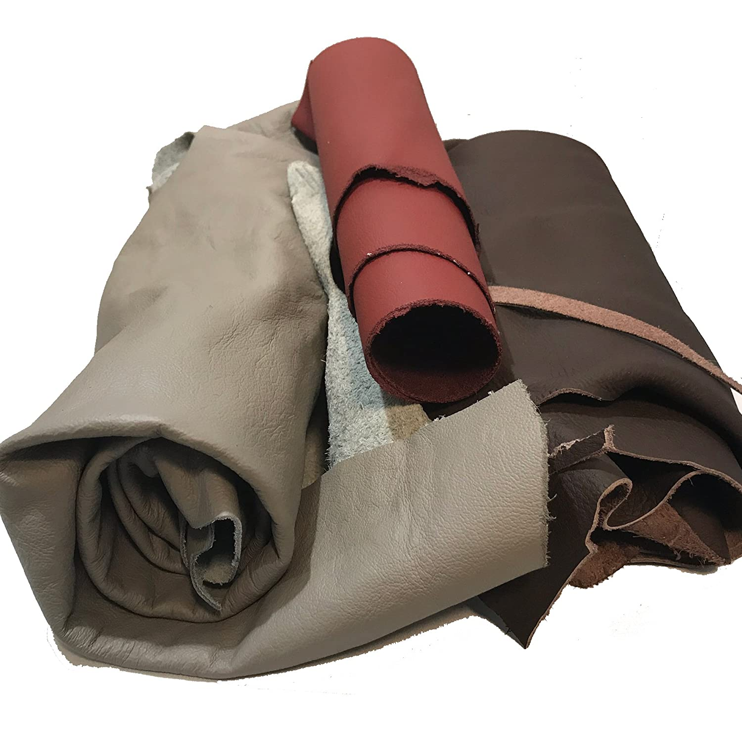 Leather Scraps: Sheets of leather for crafts. Various sizes, colors and shapes. 2-5 pieces per pack - 2 Lbs Memory Cross 4336862331