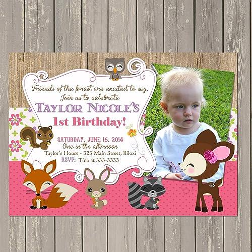 amazon com woodland birthday invitation girls woodland party