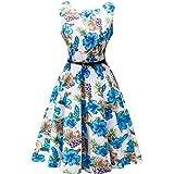 SRANDER Vintage Kleid, 50s Retro Kleid Ärmellos Rockabilly Schwingen Cocktailkleider Prom Dress S8000