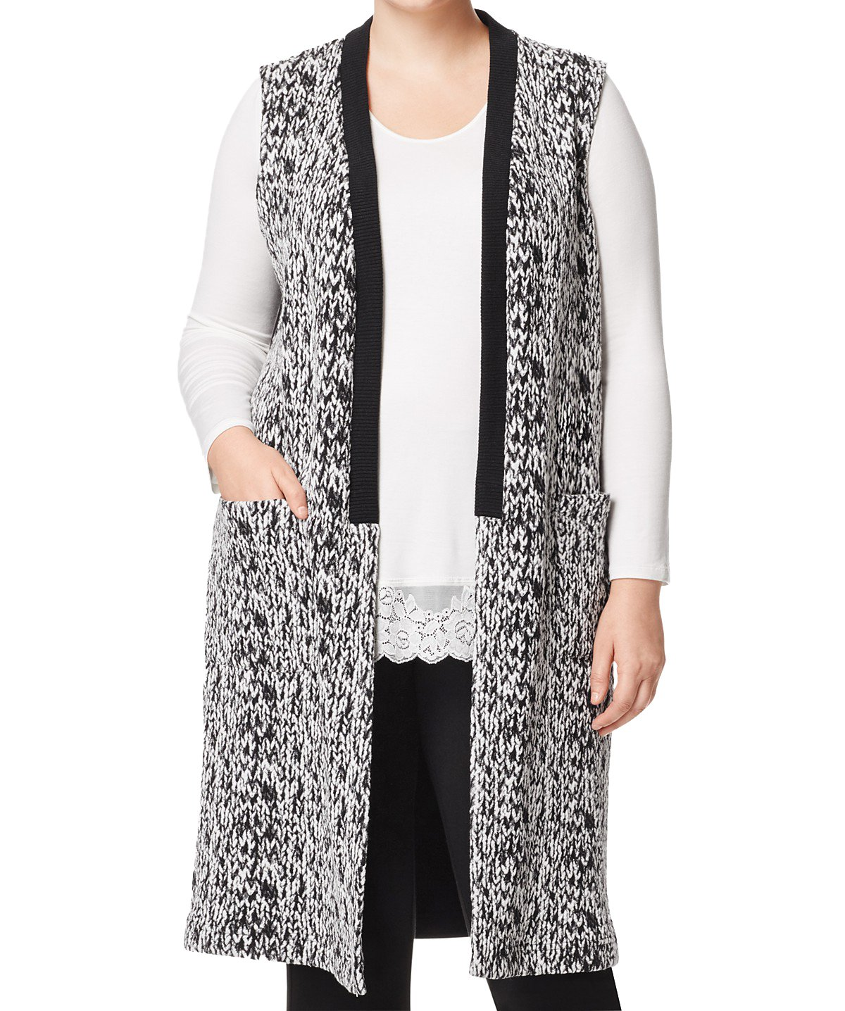 Marina Rinaldi Women's Olifante Sweater Vest, Black/White, Large