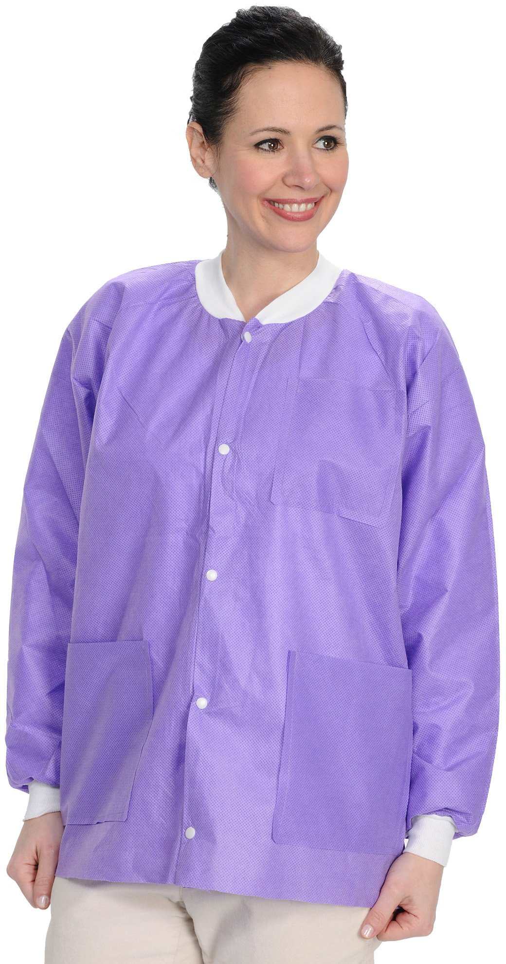 ValuMax 3530PPM Easy Breathe Cool and Strong, No-Wrinkle, Professional Disposable SMS Hip Length Jacket, Purple, M, Pack of 10