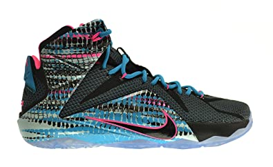 Nike Lebron XII Chromosomes Mens' Shoes Black-Pink Pow-Blue Lagoon 684593-
