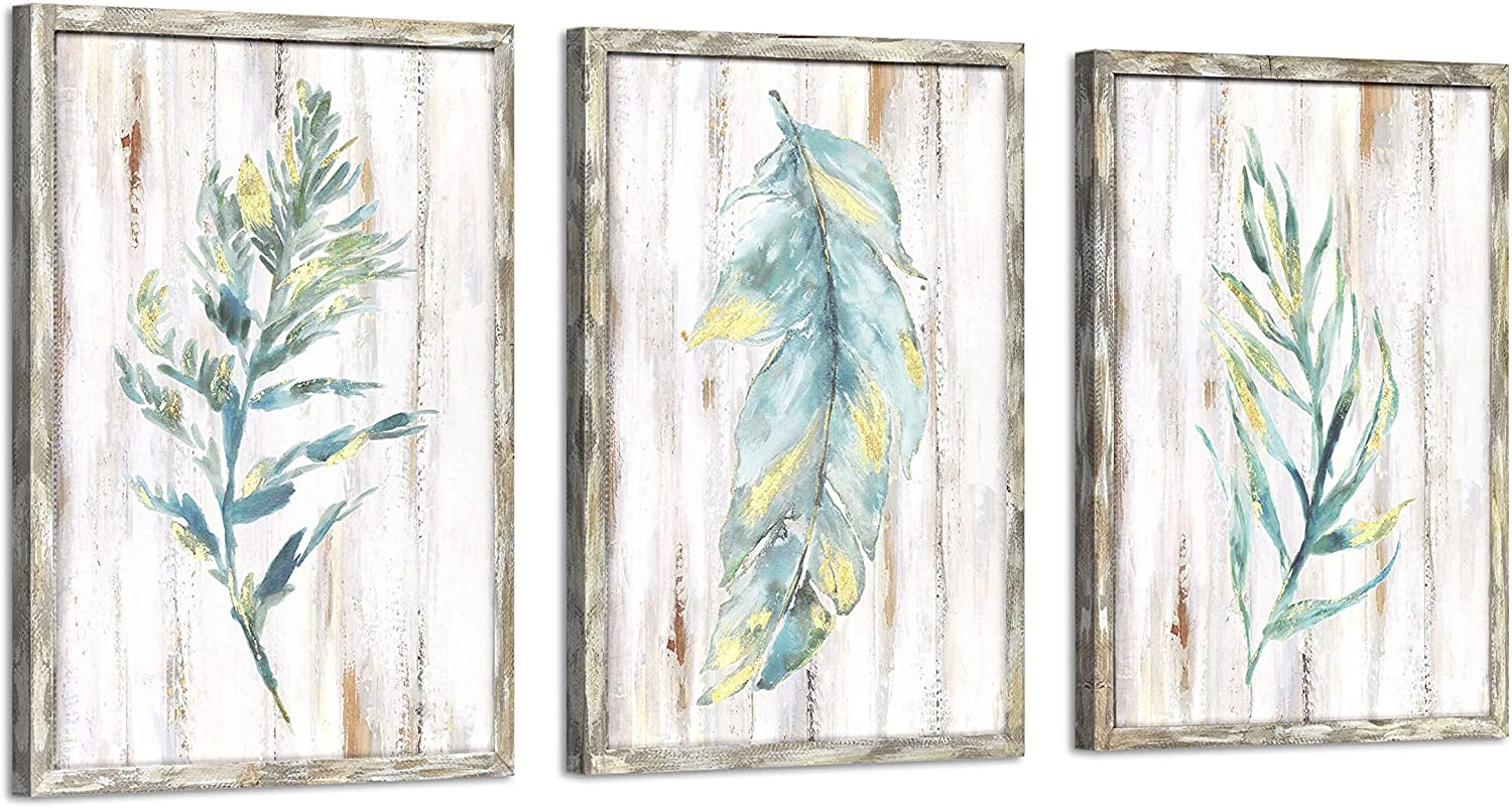 Watercolor Botanical Wooden Wall Art: Green Leaf Pictures Gold Foil Prints Paintings Set Artwork for Bedroom (18