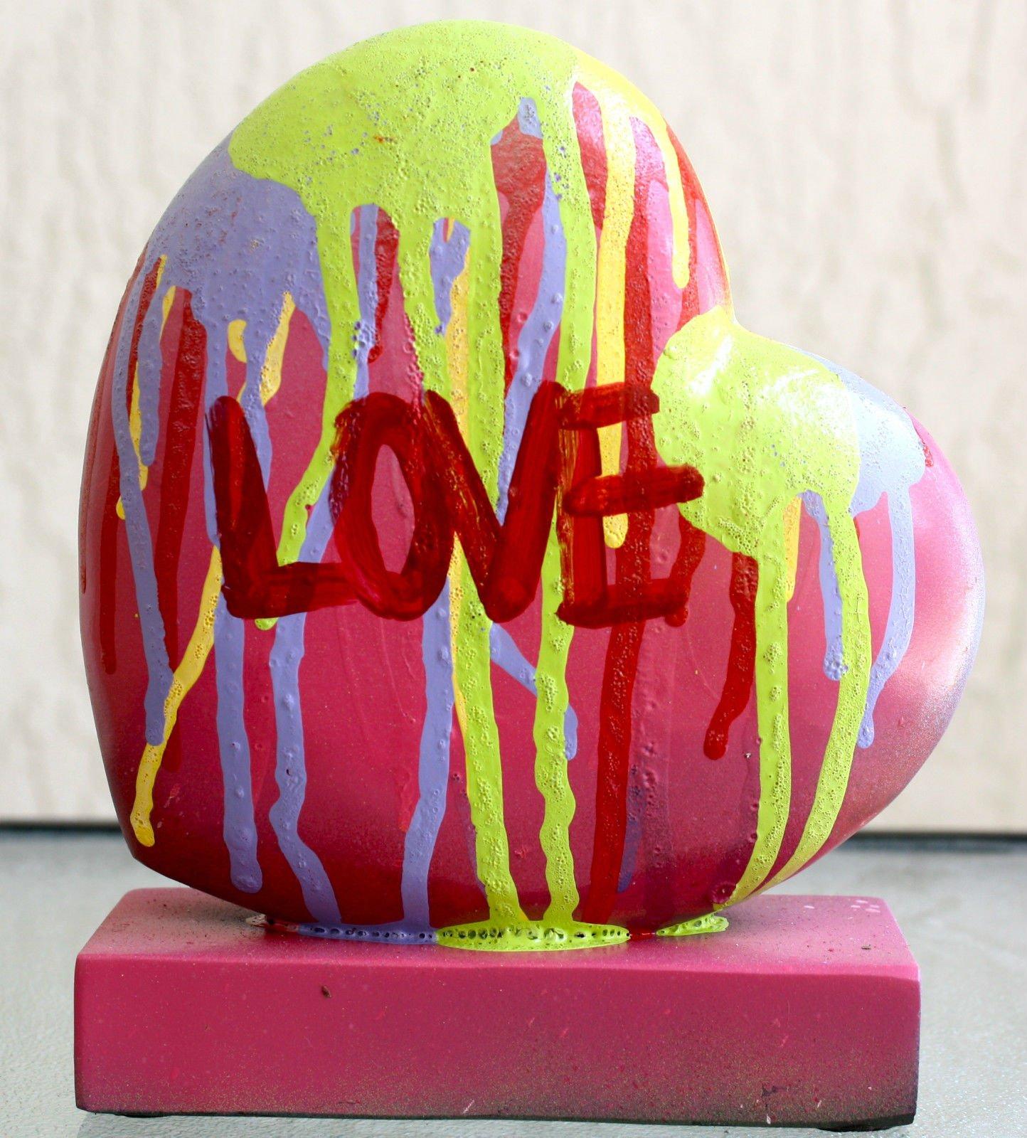 LOVE HEART 6'' x 7'' x 2'' ART ABSTRACT EXPRESSIONISM SCULPTURE MODERN FINE POP