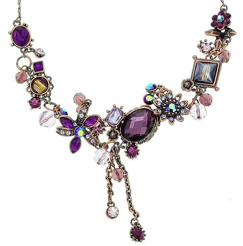 c31038f93c58 Collar de Cadena de Oro Rosa - Collar Bonito con Piedras de Cristal Violeta  y Colgantes de Flores - Collares para Novia  Amazon.es  Joyería