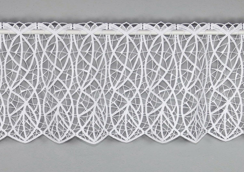 Moderne Spitzen-Scheibengardine CLOÉ aus Echter Plauener Luftspitzen-Stickerei Feenhausgardine in weiß alles-Spitze
