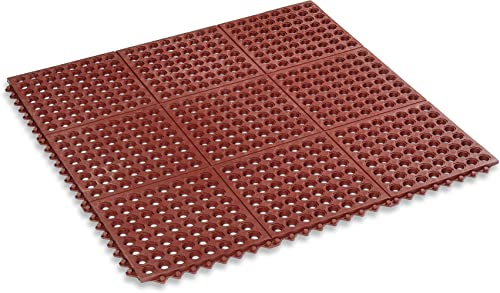 Kempf Rubber Anti-Fatigue Drainage Mat, Interlocking for Wet and Dry Areas, 36-Inch by 36-Inch, Red