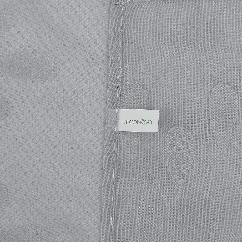 Deconovo Cortina Transparente Visillo Jacquard para Ventana con Ollaos 2 Piezas 140 x 138 cm Gota Gris