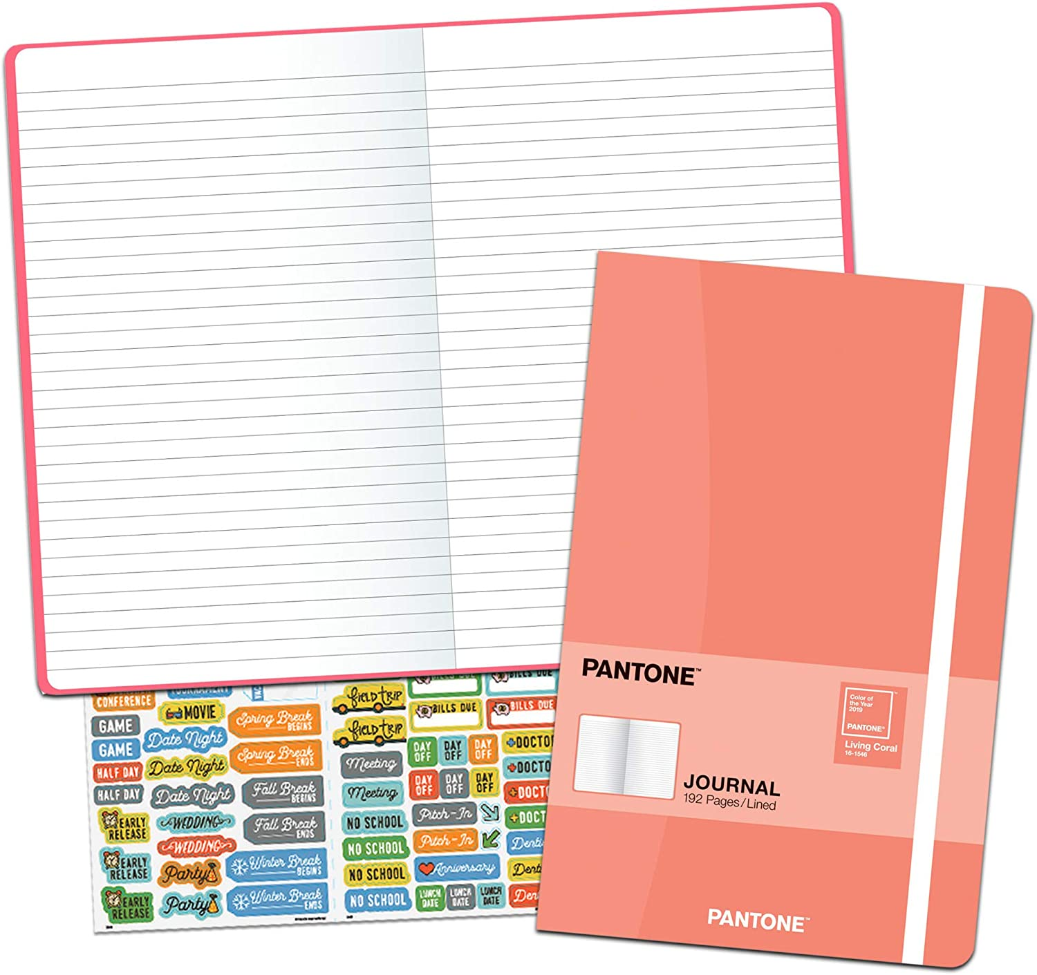 Pantone Undated Planner Calendar Set ~ Bundle Includes Deluxe Compact Pantone Color of The Year Living Coral Planning Notebook with Over 100 Calendar Stickers