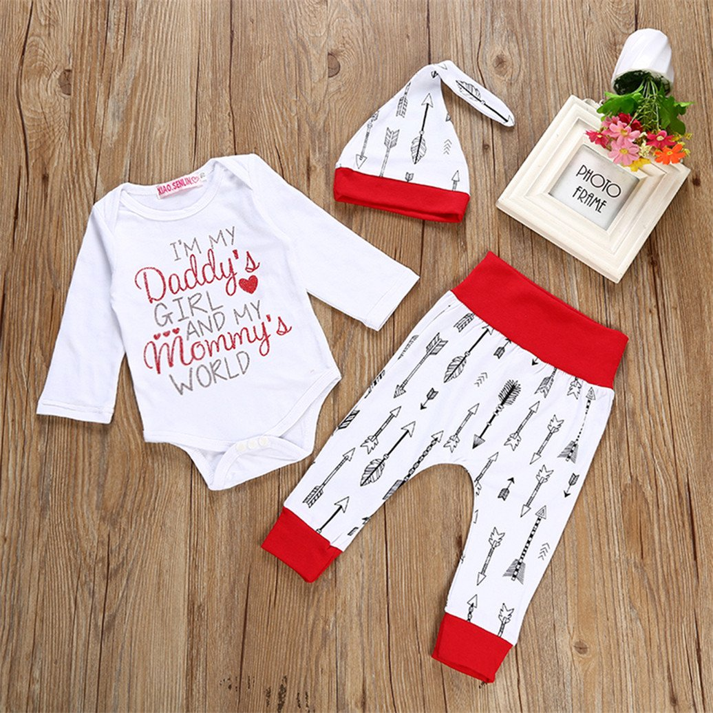 potato001 Newborn Baby Girls Fashion Letter Arrows Print Romper Long Pants Cap Outfit Set size 18-24M