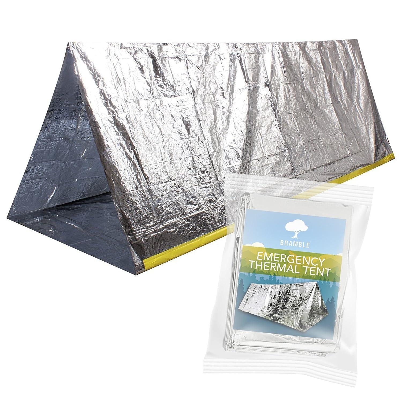 Bramble Tente de réfléchissant Thermique abri d'urgence pour Le Camping, la Survie et la randonnée. Protection Contre la Pluie, Le Froid, la tempête, Le Vent et l'hypothermie Le Vent et l' hypothermie