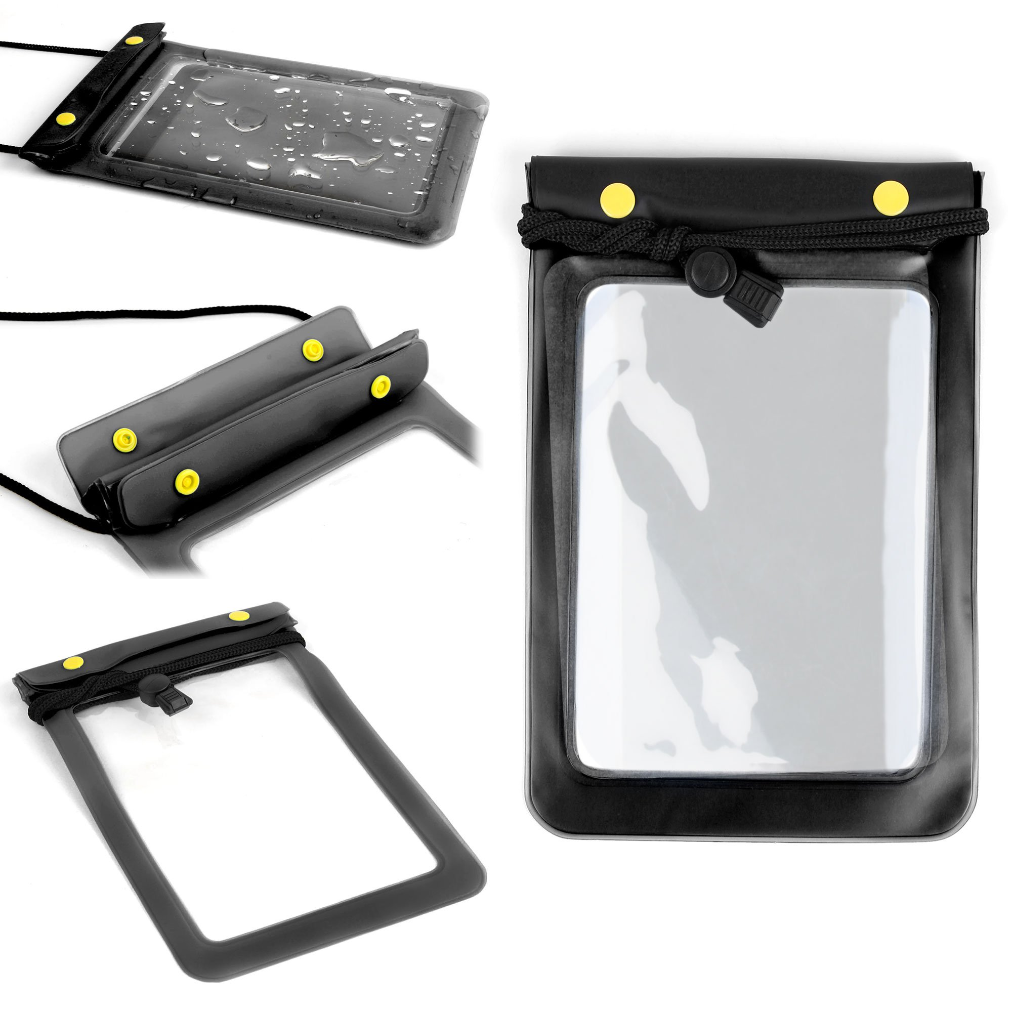 DURAGADGET Black All-Purpose Waterproof Tablet Dry Pouch With Neck Strap For Generic Double Power 7'' Tablet 8GB Memory Dual Core