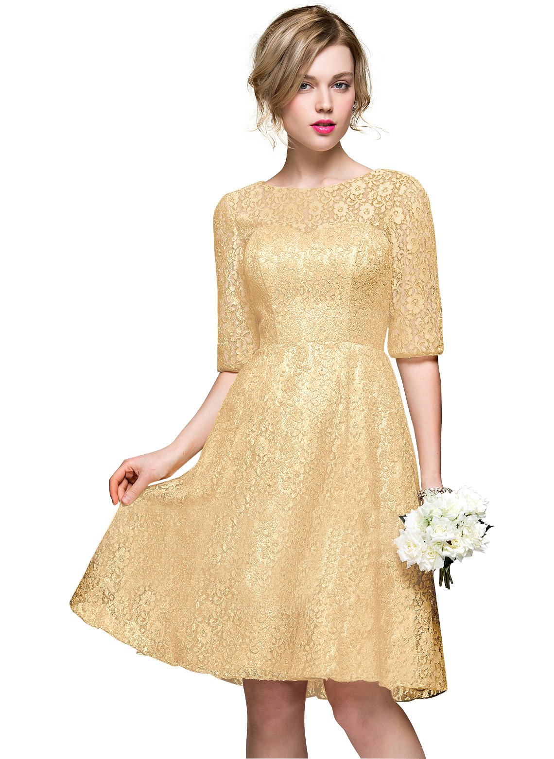 Loffy Women's Shoulder Lace Cocktail Homecoming Dress Gold Size 20