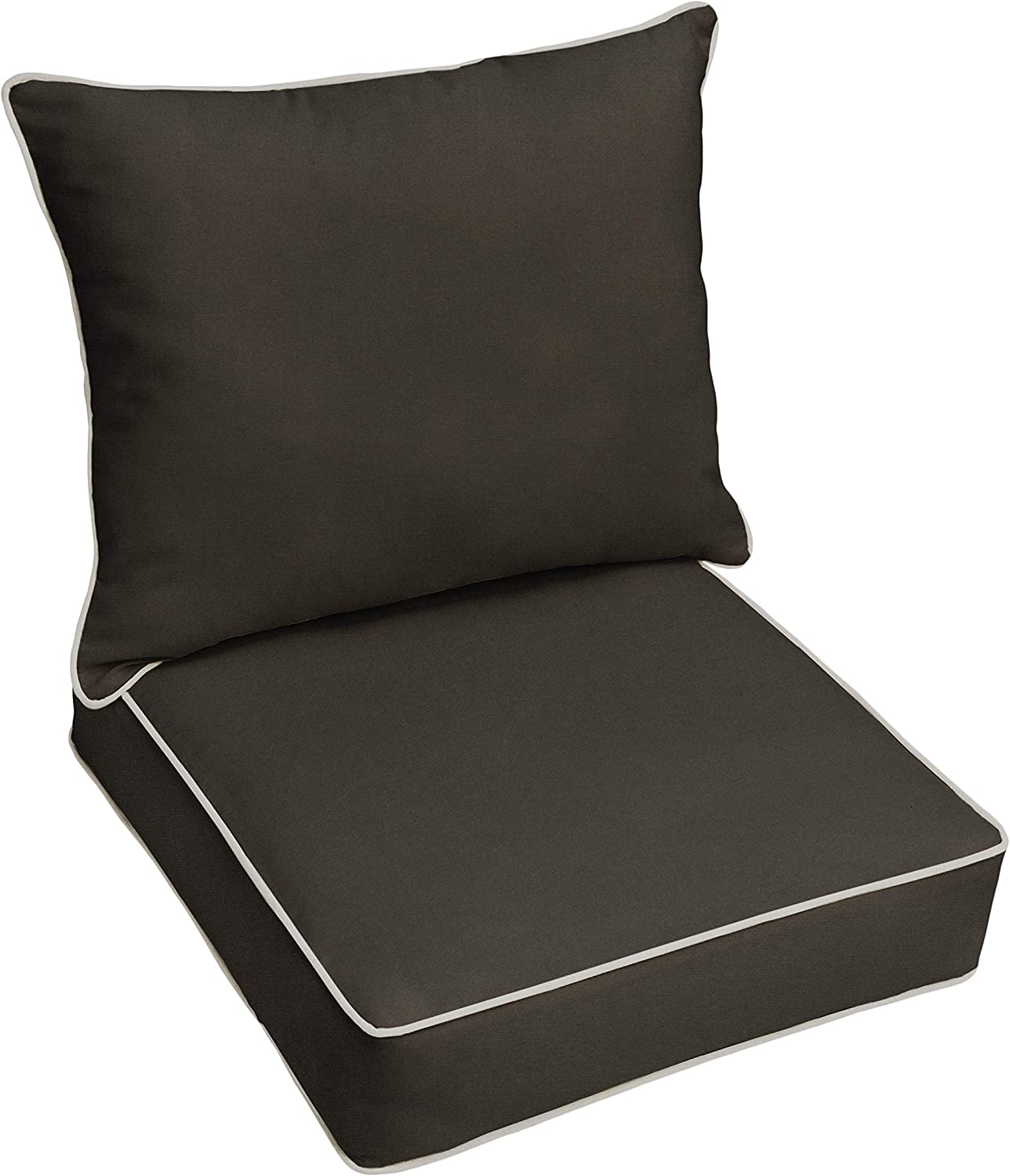 Mozaic AZPC6874 Indoor or Outdoor Sunbrella Deep Seating Cushion & Pillow Set with Corded Edges, 23 in W x 25 in D, Canvas Black