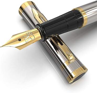 Black Gold -Medium Nib-Journaling and Calligraphy-Smooth Writing Pens Wordsworth /& Black Majesti Fountain Pen Set 6 Free Ink Cartridges /& Ink Refill Converter-Luxury Gift-Perfect for Men /& Women