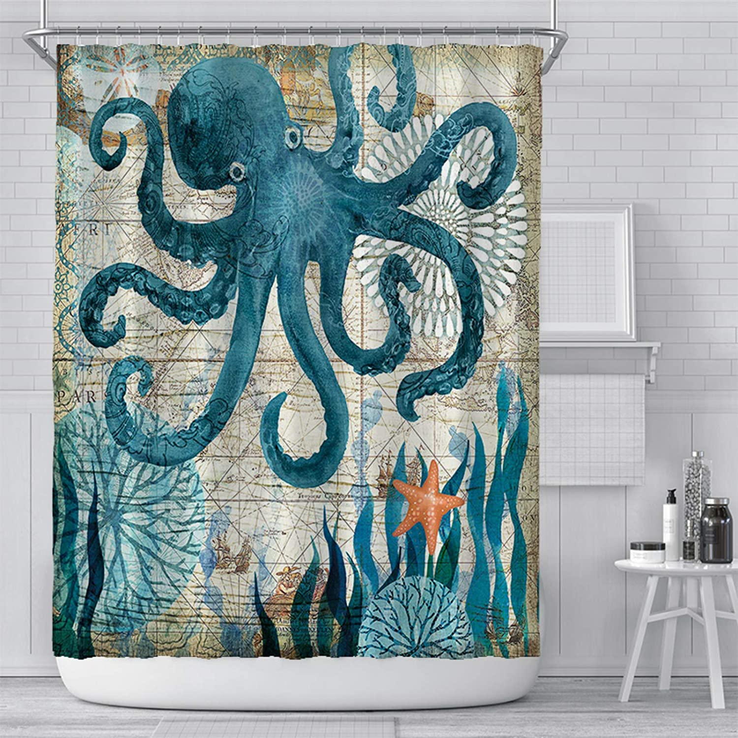 Funny Shower Curtain for Ocean Themed, Octopus Bathroom Decor Ship Sail Old Boat in Ocean Waves, Blue Fabric Bath Curtains Set with Hooks, 72 x 72 Inches