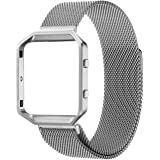 For Fitbit Blaze Accessory Band,Small (5.5-6.7 in),Oitom Frame Housing+Milanese loop Stailess Steel Band for Fitbit Blaze Smart Watch Fitness (Silver)