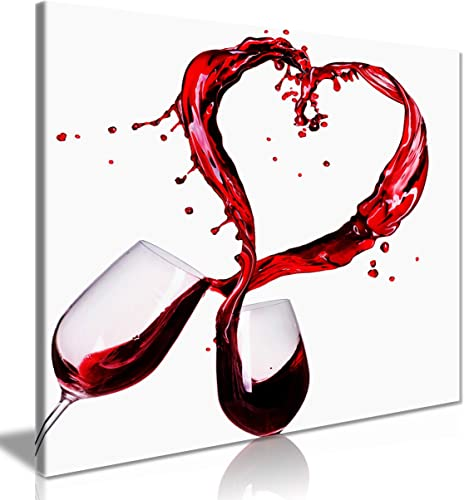White and Red Kitchen Art Love Wine Canvas Wall Art Picture Print 30x30in