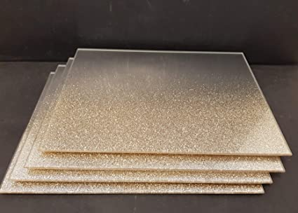 Rose Gold Glitter Mirror Glass PlaceMat And Coaster Set of 4 Of Each