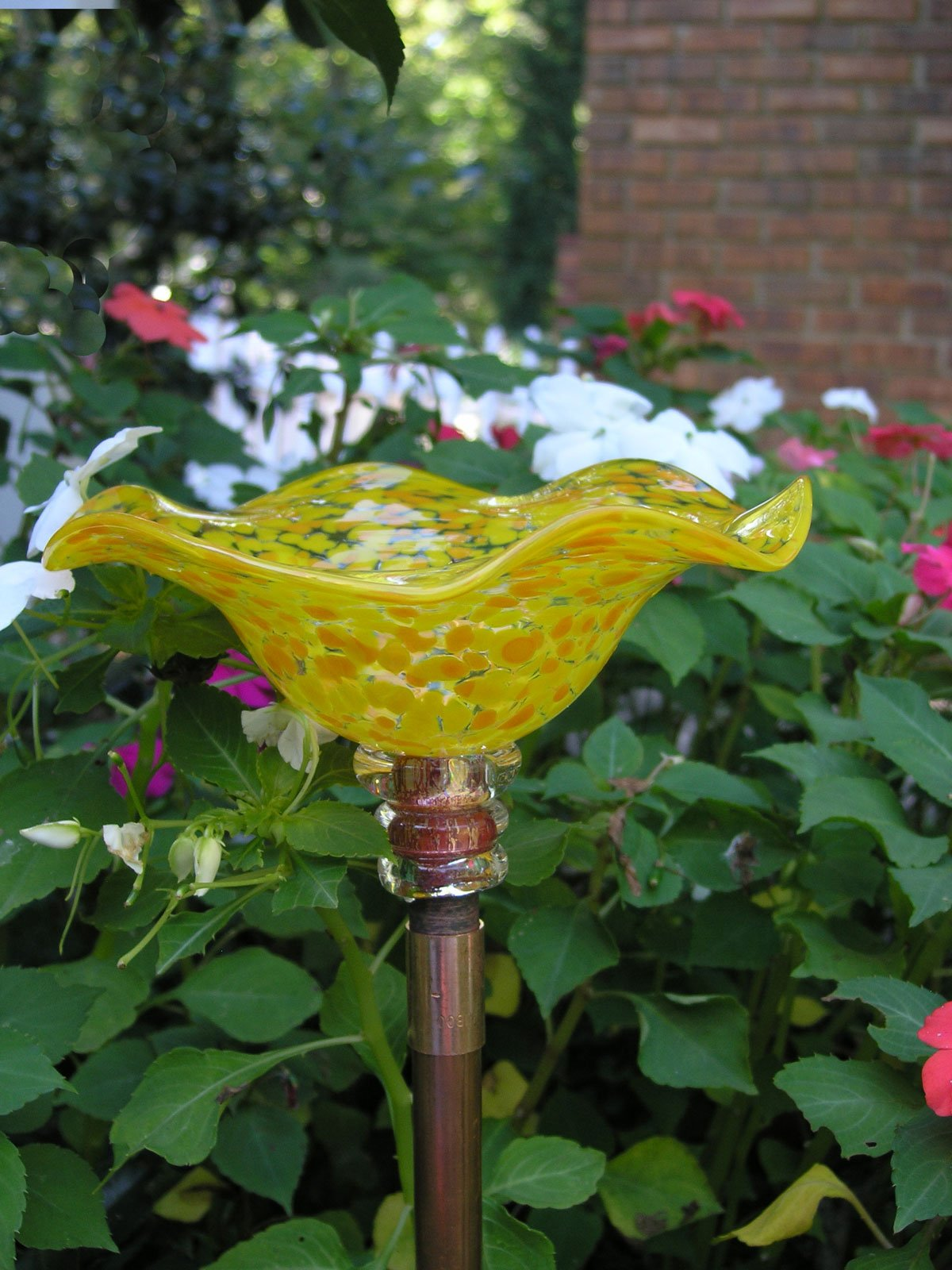 Spotted Yellow Hand Blown Glass Butterfly Feeder with 36'' Copper Stake by Andrew Holmberg