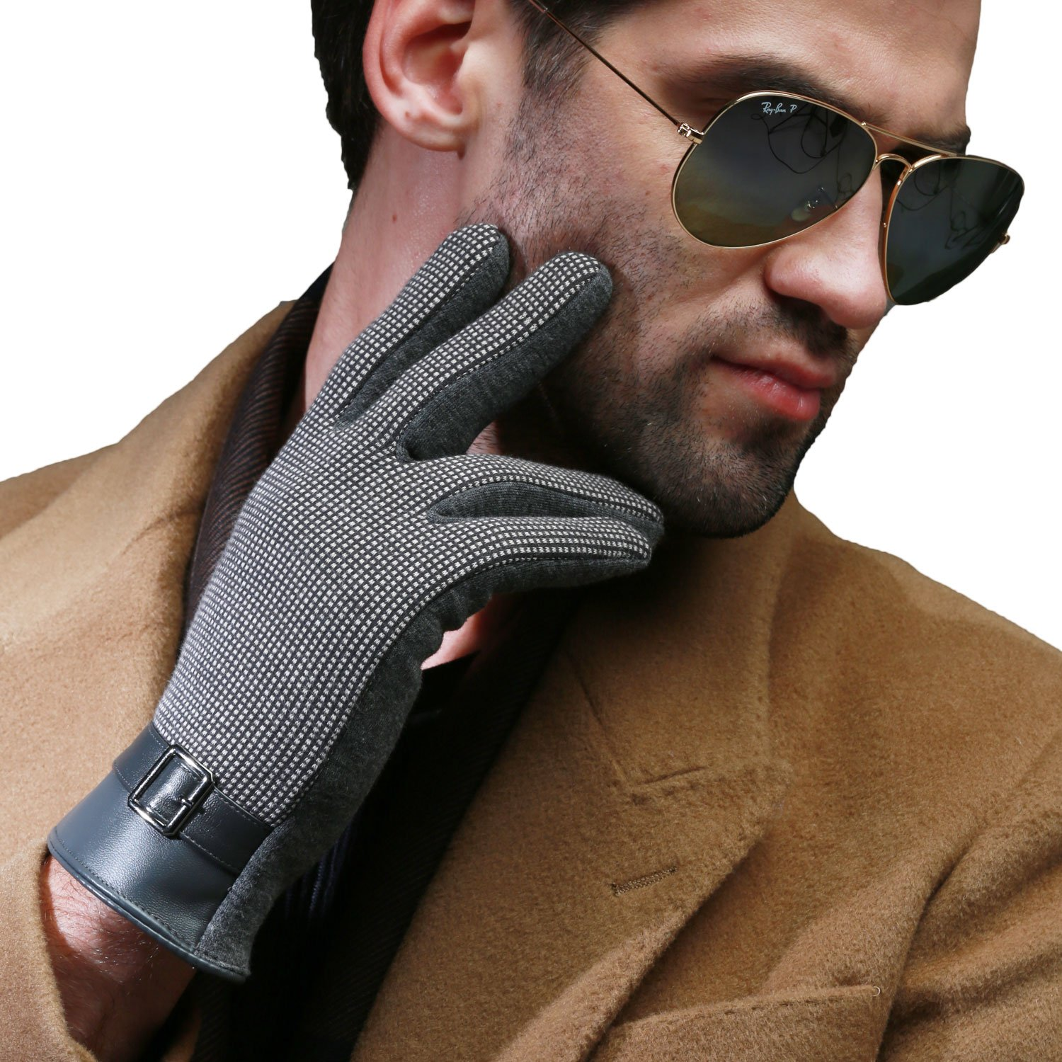 Mandys Mens Autumn Winter Plush Lining Gloves Touch Screen