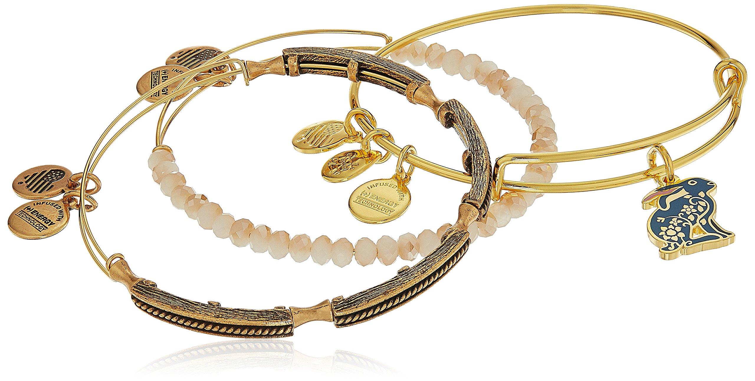Alex and Ani Rabbit Set of 3 Shiny Gold Bangle Bracelet