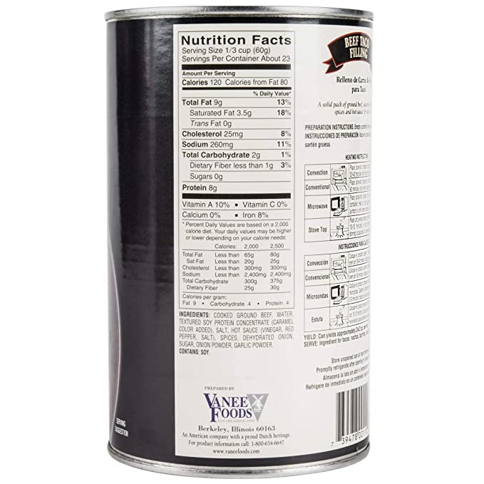 Amazon.com: TableTop King 356T3 48 oz. Can Beef Taco Filling ...
