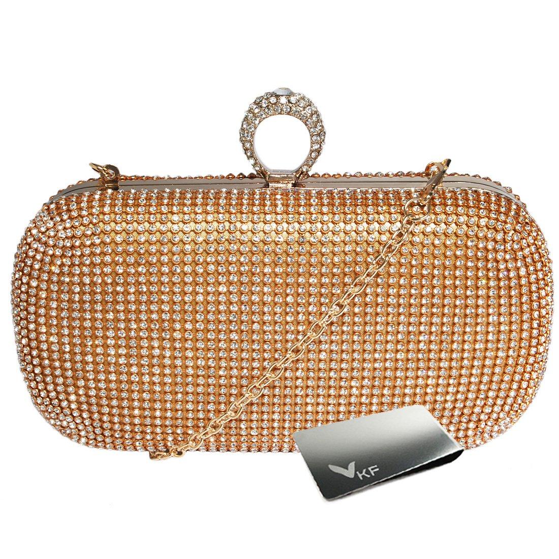 [キロフライ]kilofly指輪クラッチバッグ財布ハードケース、ラインストーンクリスタル+マネークリップ B01AZAF2PW ゴールド