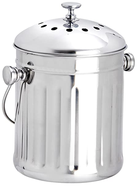Eddingtons 2.25 Litre Mini Tabletop Compost Pail/Tea Bag Bin, Stainless  Steel