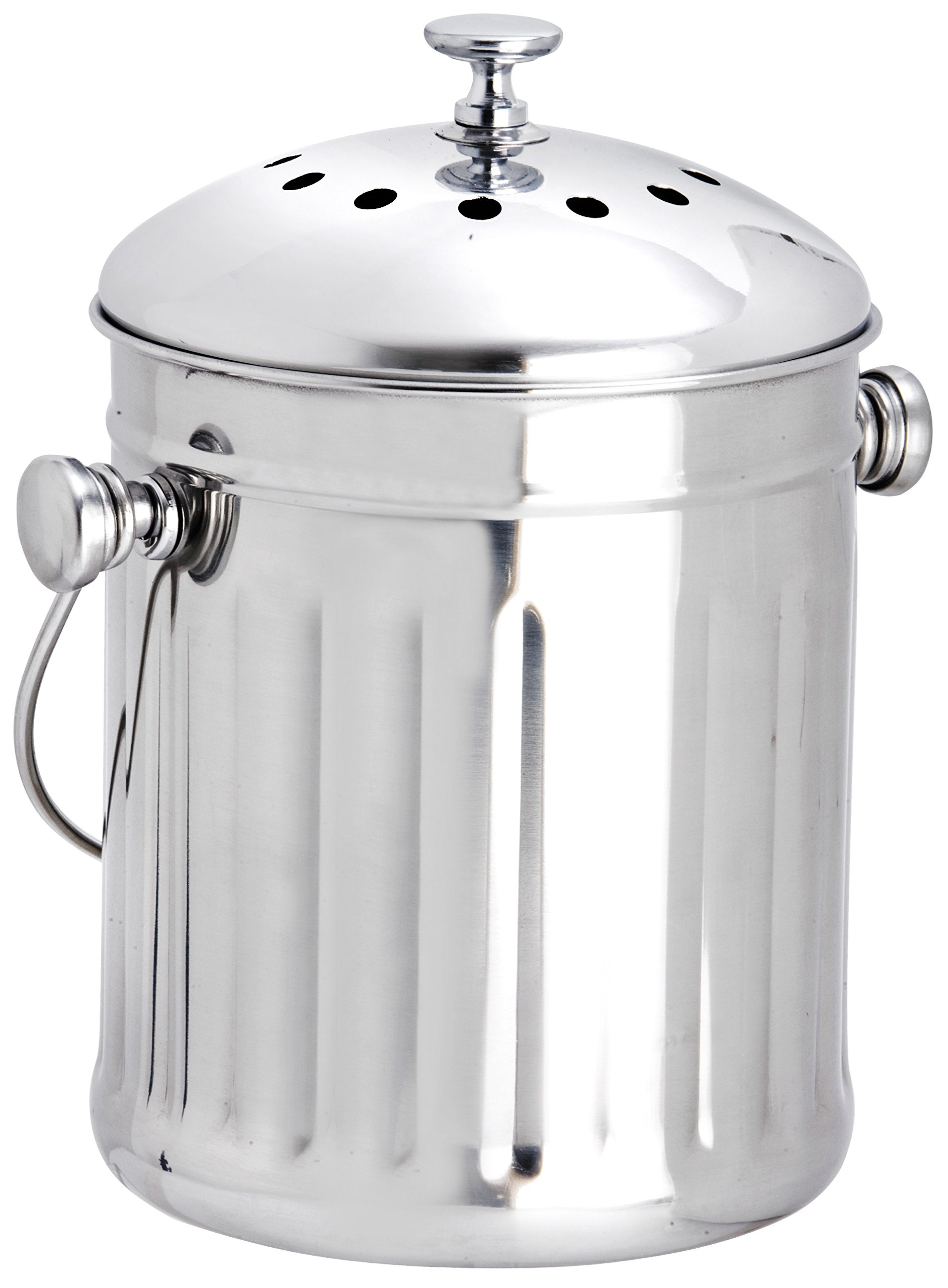 Eddingtons 2.25 Litre Mini Tabletop Compost Pail / Tea Bag Bin, Stainless Steel