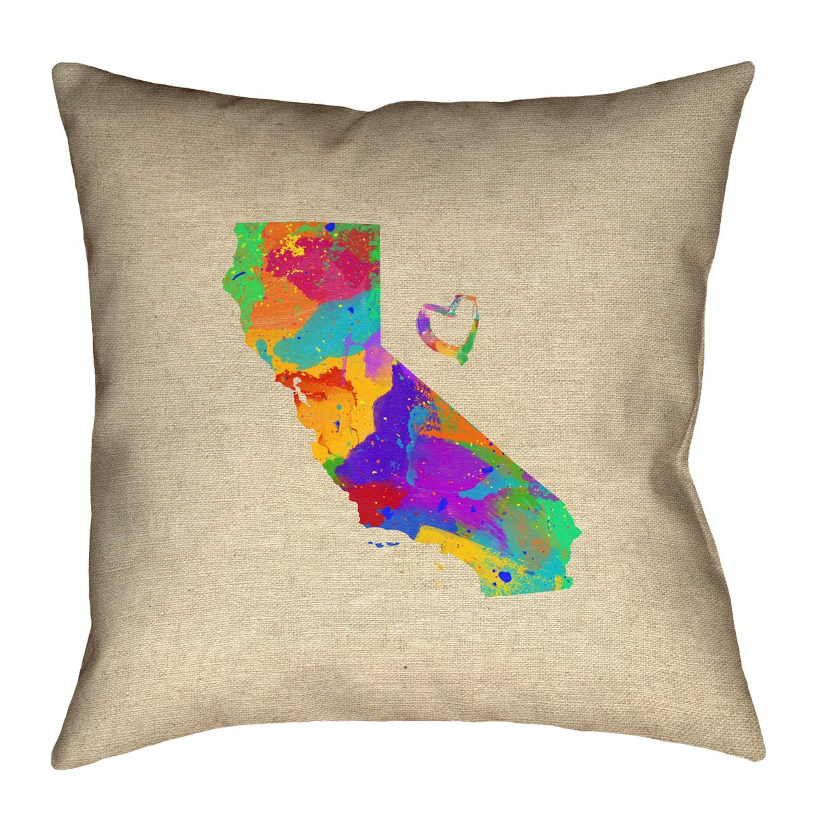 Pillow-Spun Polyester Double Sided Print with Concealed Zipper SMI174P2626C Pillow Cover Only ArtVerse Katelyn Smith California Love Watercolor 26 x 26