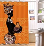 Decorations Shower Curtain Set by LB,African Woman Decor Bath Curtain 59x72 inch Polyester Fabric Bathroom Curtains with Hooks Anti Bacterial Waterproof