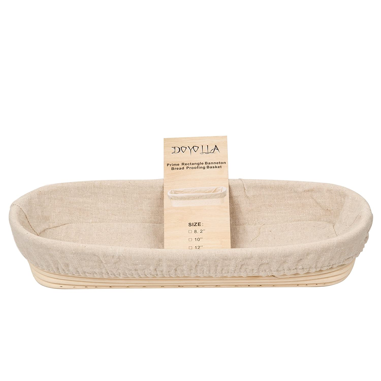 DOYOLLA 1pcs Oval Shaped 10' Banneton Brotform Bread Dough Proofing Rising Rattan Basket & Liner Combo DBS17K-10''