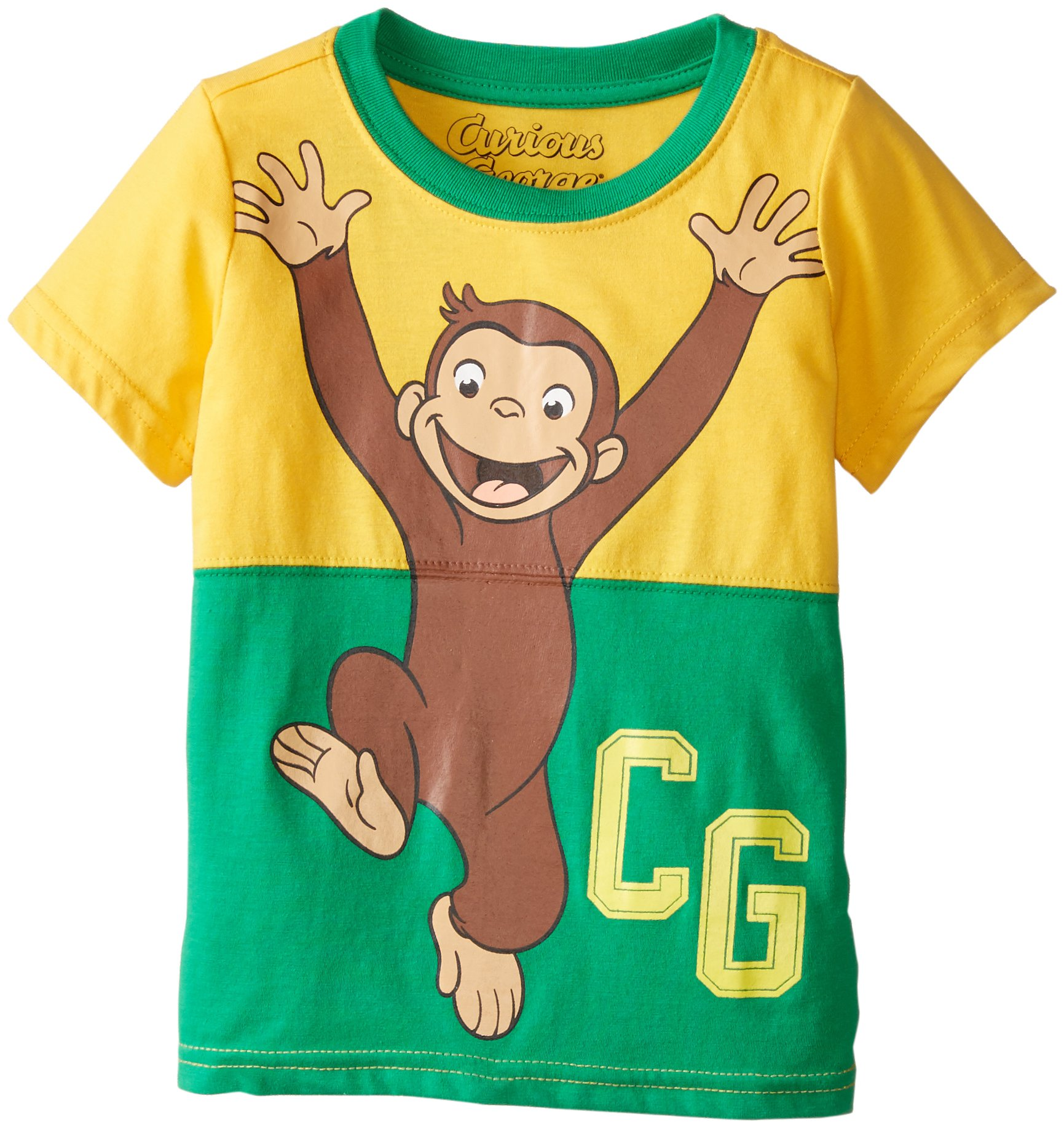 Curious George Little Boys' Toddler Short Sleeve T-Shirt, Yellow/Green, 2T