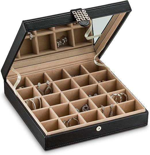 Wood 48 Pair Rings Cufflinks Earrings Display Box Case Storage Tray