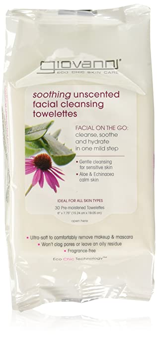 Giovanni Facial Cleansing Towelettes, Soothing Unscented, 30 Ea, 3 Pack Surya Brasil - 100% Natural Vegan Tinted Lip Balm Pink Grapefruit - 0.15 oz. (pack of 2)